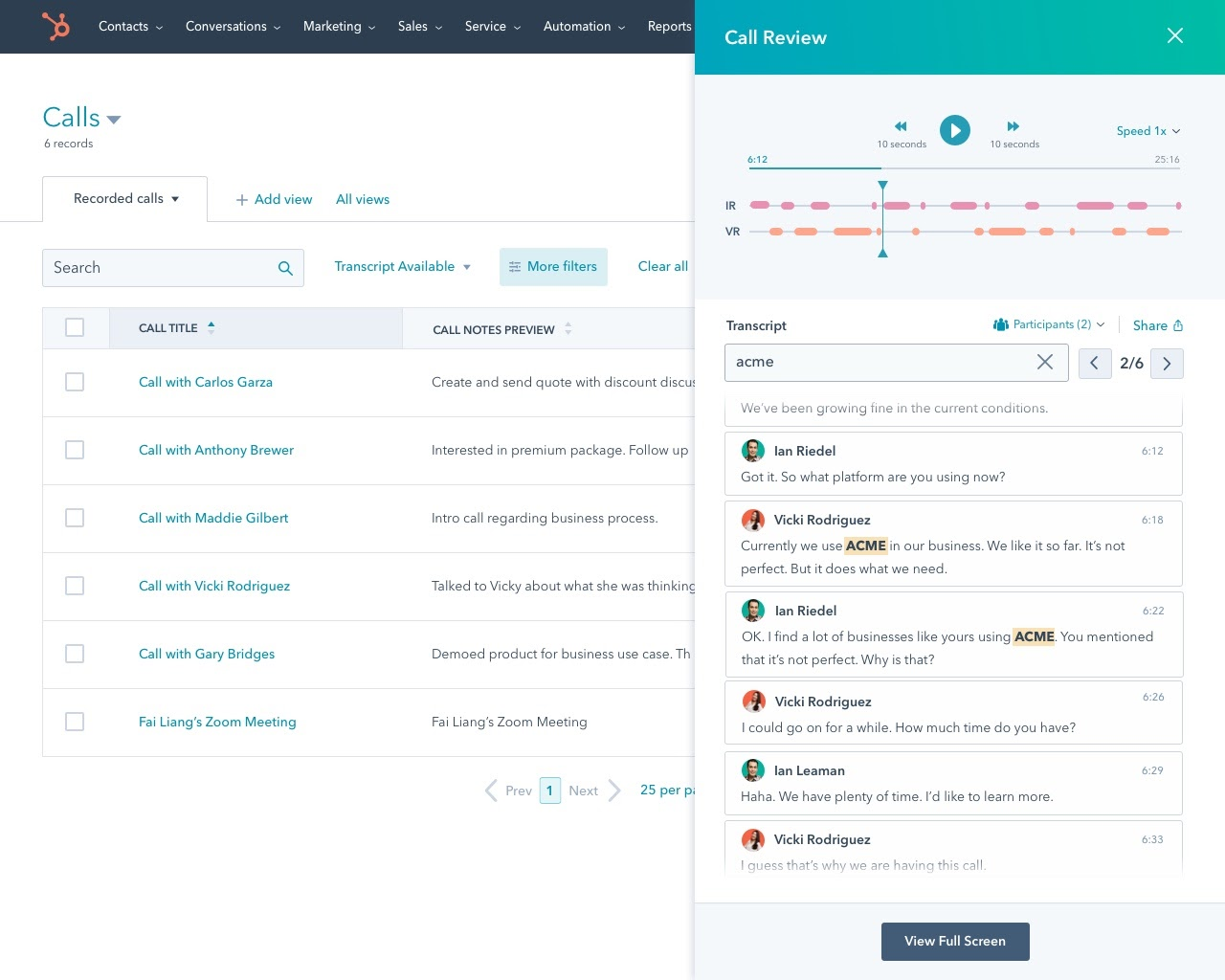 Call index - call review panel search for competitor