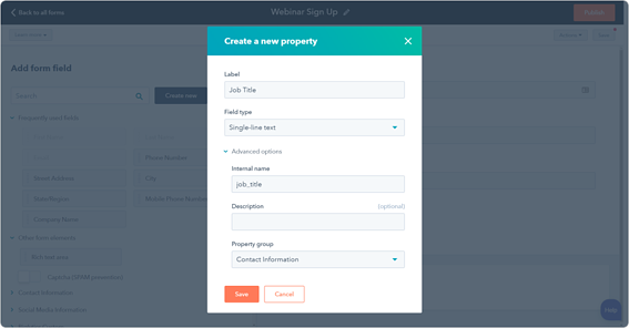 Creating a form on HubSpot