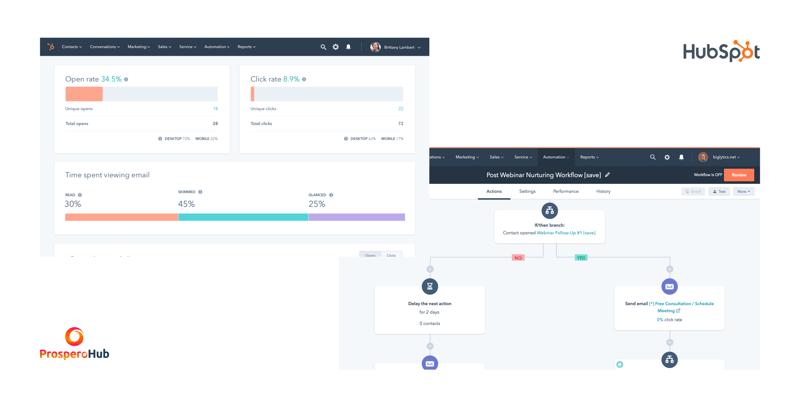 HubSpot - workflow & email screenshot